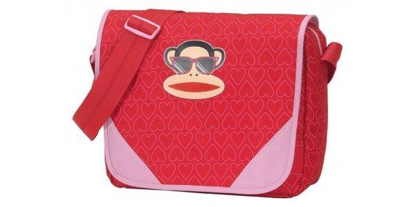 Dámska červená taška Paul Frank messenger se veselou potlačou