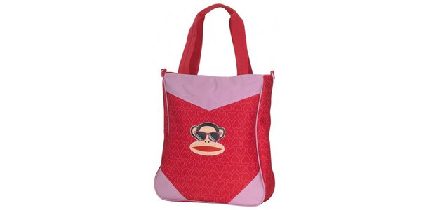 Dámska červená taška cez rameno Paul Frank s veselou potlačou