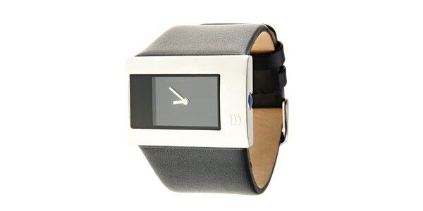 Dámske čierno-strieborné náramkové hodinky Danish Design s čiernym koženým…