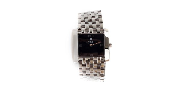 Dámske oceľové hodinky Royal London so štvorcovým čiernym ciferníkom