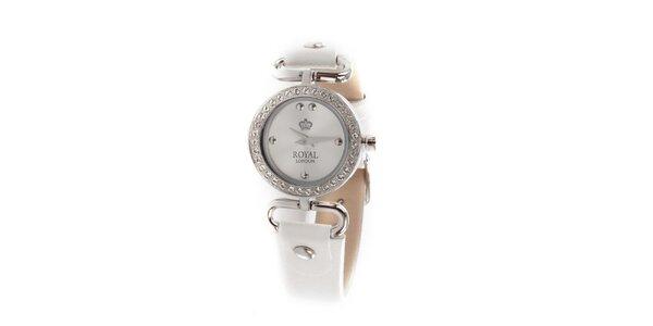 Dámske biele náramkové hodinky Royal London s kamienkami