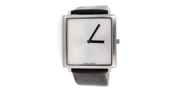 Dámske čierne hodinky Danish Design s metalickým strieborným ciferníkom