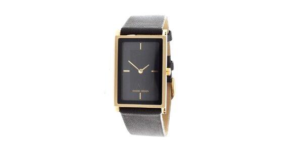 Dámske čierne hodinky Danish Design s obdĺžnikovým ciferníkom