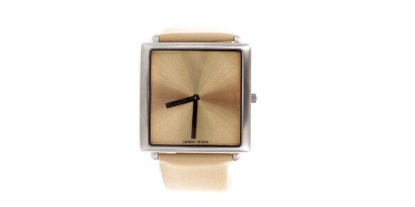Dámske béžové hodinky Danish Design so štvorcovým ciferníkom