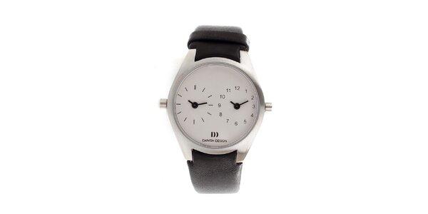 Dámske biele hodinky Danish Design s čiernym koženým remienkom