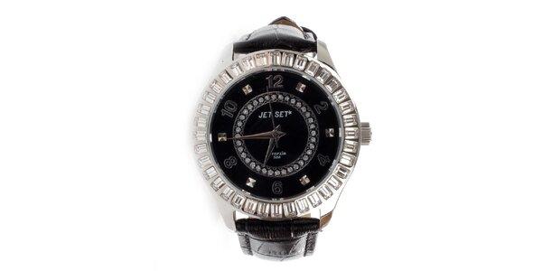 Dámske analógové hodinky Jet Set s kryštálmi s koženým remienkom