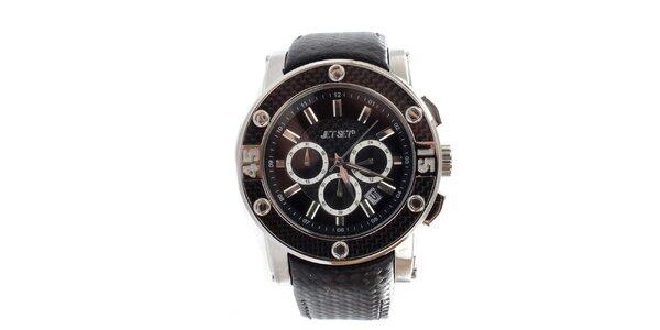 Dámske čierne hodinky s oceľovým púzdrom Jet Set