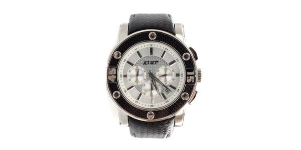Dámske čiernobiele hodinky s oceľovým púzdrom Jet Set