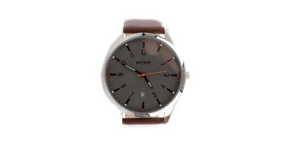 Pánske hnedé hodinky s dátumovkou Axcent