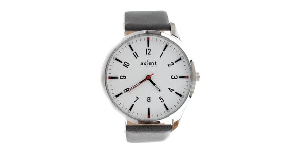 Pánske strieborné hodinky s dátumovkou Axcent