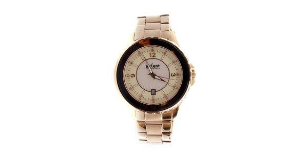 Dámske zlato-ružové analógové hodinky s dátumovkou Axcent