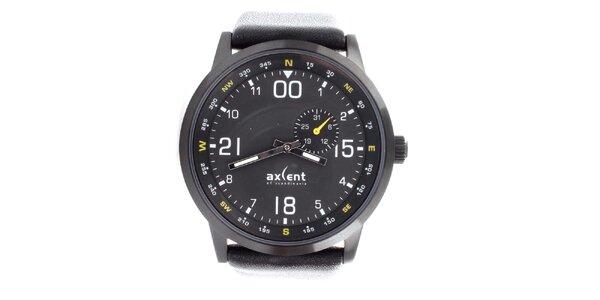 Pánske čierne hodinky so žltými detailmi Axcent