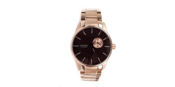 Pánske zlaté hodinky s hnedým ciferníkom Axcent