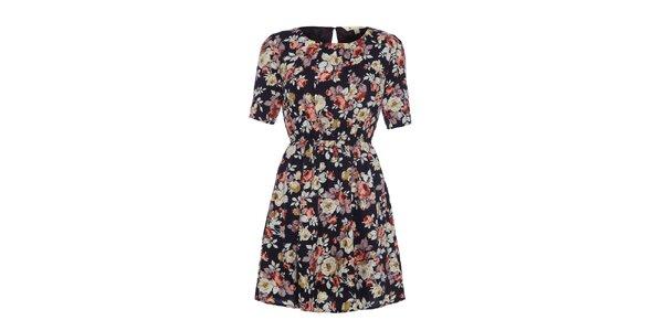 Dámske čierne šaty s kvetinovou potlačou Yumi