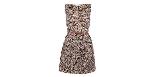 Dámske hnedé šaty s jemným vzorom Yumi