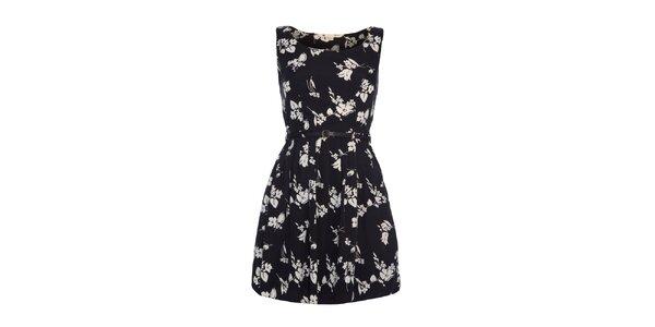 Dámske čierne šaty s bielym vzorom Yumi
