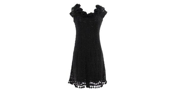 Dámske čierne čipkované šaty s ružami Yumi