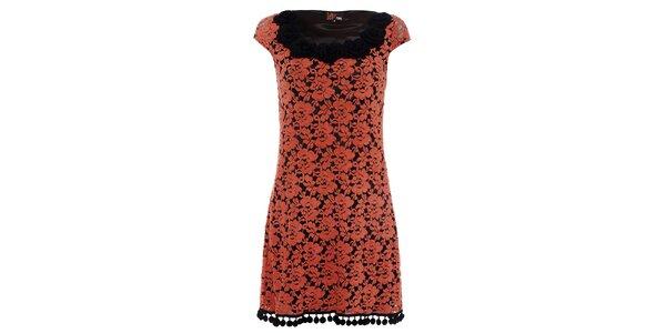 Dámske oranžové čipkované šaty Yumi