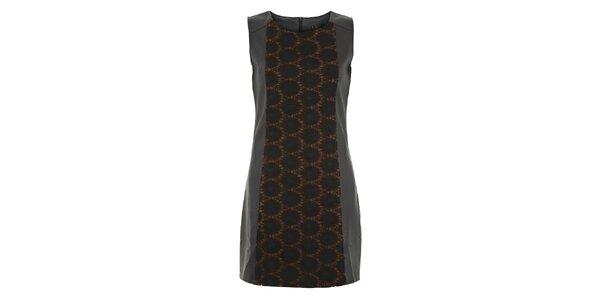 Dámske čierno-hnedé šaty s kolieskami Yumi