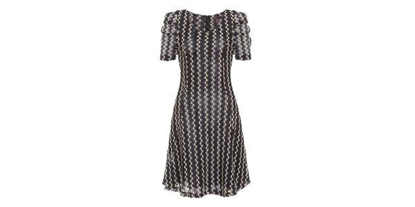 Dámske čierno-biele šaty s naberanými rukávmi Yumi