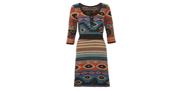 Dámske oranžovo-modré indiánske šaty Yumi