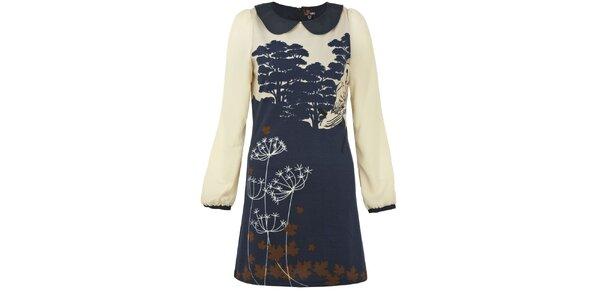 Dámske tmavo modré šaty so sovou Yumi