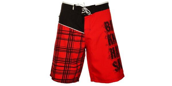 Pánske červeno-čierne kúpacie šortky British Knights