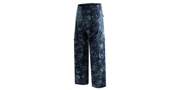 Pánske tmavo modré snowboardové nohavice s potlačou