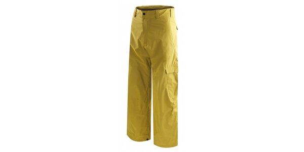 Pánske žlté snowboardové nohavice s potlačou
