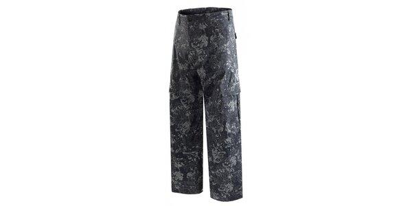 Pánske tmavo šedé snowboardové nohavice s potlačou