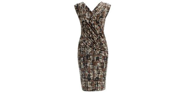 1e757c6529d6 Dámske zavinovacie šaty s hnedou potlačou CeMe London