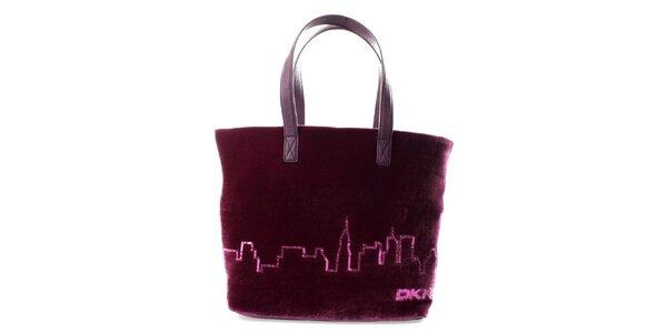 Dámska fialovo-vínová zamatová kabelka s flitrami DKNY