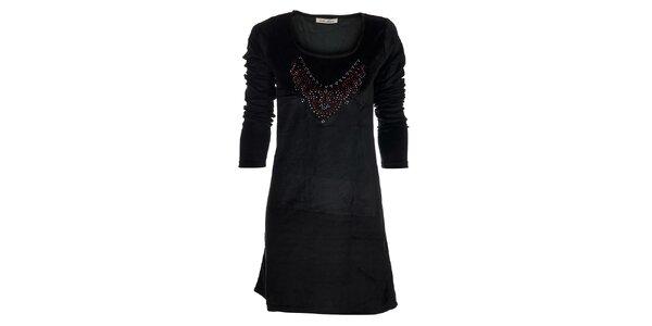 Dámske čierne zamatové šaty Snake Milano s farebnými kamienkami