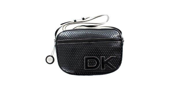 Dámska čierna perforovaná kabelka s popruhom DKNY
