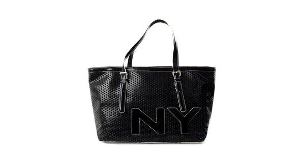 Dámska čierna perforovaná kabelka DKNY
