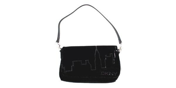 Dámska čierna zamatová kabelka DKNY