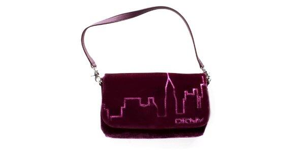 Dámska fialovo-vínová zamatová kabelka DKNY