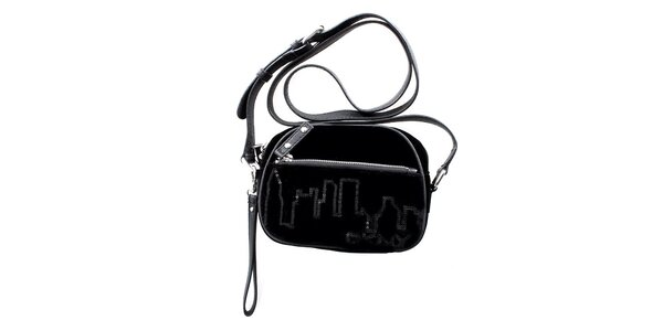 Dámska malá čierna zamatová kabelka DKNY