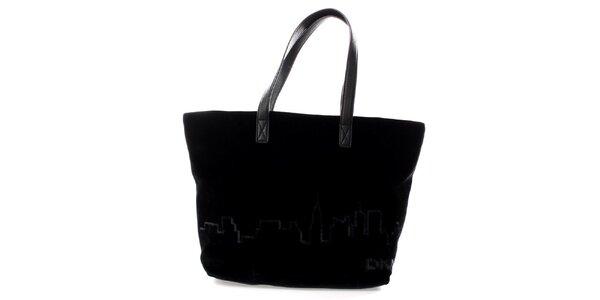 Dámska čierna zamatová kabelka s flitrami DKNY