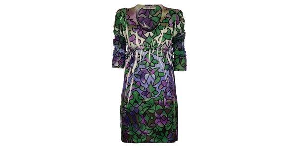 Dámske zeleno-fialové šaty Snake Milano s potlačou a kamienkami
