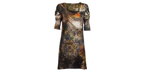 Dámske hnedo-oranžové šaty Snake Milano so zvieracou potlačou a kamienkami