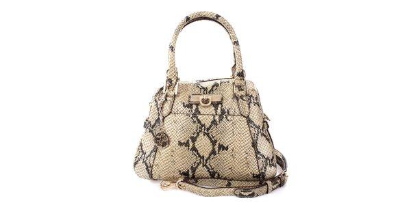 Dámska svetlá kabelka s hadím vzorom DKNY