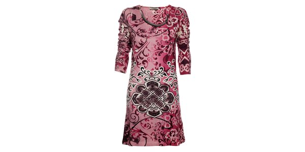 Dámske ružové šaty Snake Milano s potlačou a kamienkami