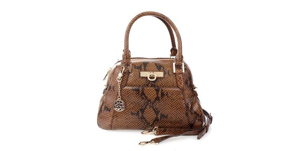 Dámska tmavo hnedá kabelka s hadím vzorom DKNY