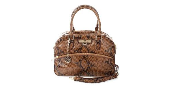 3d5af8e79bf Dámska tmavo hnedá kabelka s hadím vzorom DKNY