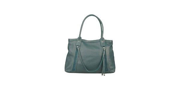 Dámska vodovo modrá kabelka z kože Made in Italia