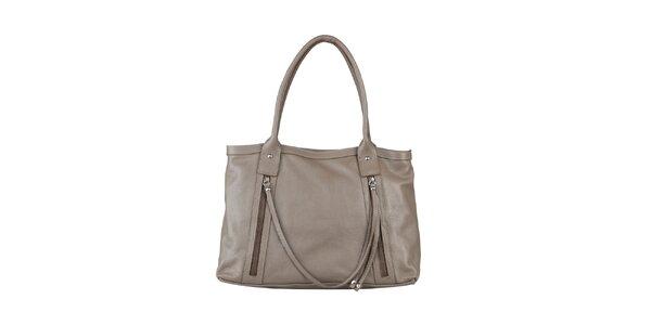 Dámska šedo-béžová kabelka z kože Made in Italia