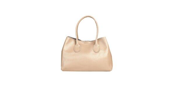 Dámska svetlo hnedá kabelka s ozdobným lemom Made in Italia