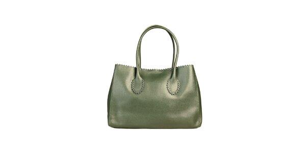Dámska zelená kabelka s ozdobným lemom Made in Italia