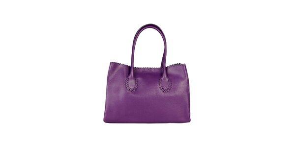Dámska fialová kabelka s ozdobným lemom Made in Italia